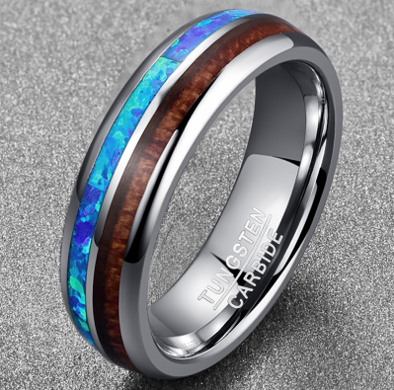6MM Wood Tungsten Carbide Men Ring Size 7-12 Polished Natural Opal Acacia Ring