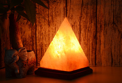 Wooden Base Himalayan Crystal Rock Salt Lamp Night Light
