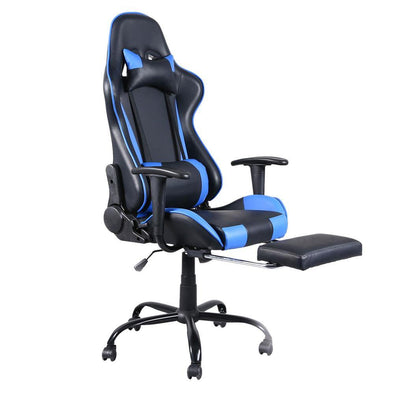 High Back Swivel Chair Racing Gaming Chair Office Chair with Footrest Tier Black & Blue - Bestgoodshop