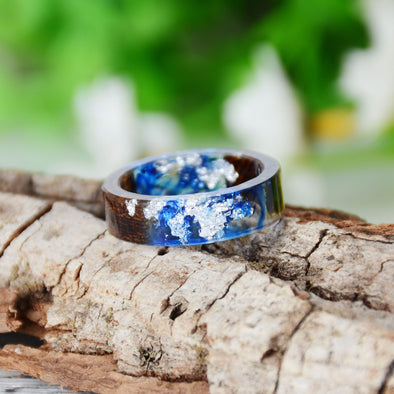 Handmade DIY romantic dry flower Real wood resin ring gold / silver, gifts for the lover
