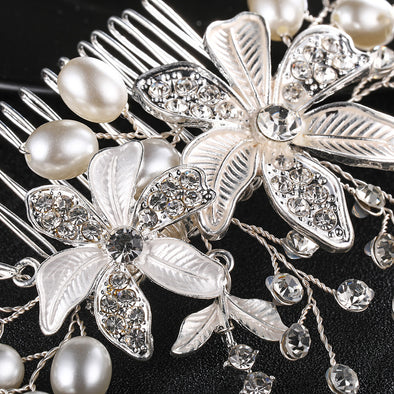 European and American Bride headdress pearl comb wedding accessories Handmade flower shape