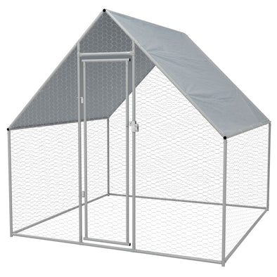 "Outdoor Chicken Cage Galvanized Steel 6'6""x6'6""x6'3"" - Bestgoodshop"