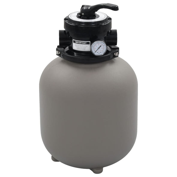 vidaXL Pool Sand Filter with 4 Position Valve Gray 1.4""