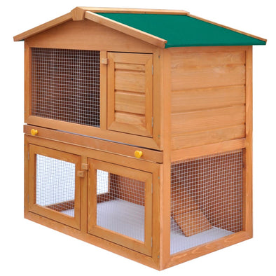 Outdoor Rabbit Hutch Small Animal House Pet Cage 3 Doors Wood - Bestgoodshop