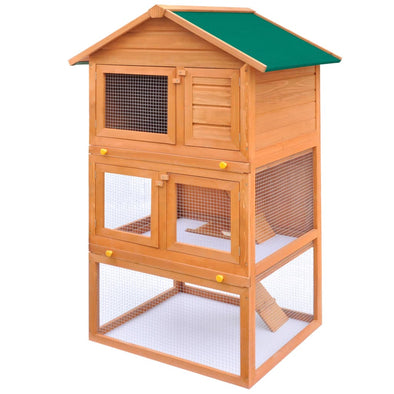 Outdoor Rabbit Hutch Small Animal House Pet Cage 3 Layers Wood - Bestgoodshop