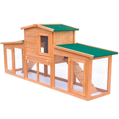 Large Rabbit Hutch Small Animal House Pet Cage with 2 Runs Wood - Bestgoodshop