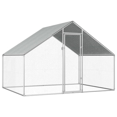 "Outdoor Chicken Cage 9'x6.6'x6'3"" Galvanized Steel - Bestgoodshop"