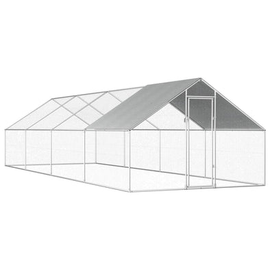 "Outdoor Chicken Cage 9'x26.2'x6'3"" Galvanized Steel - Bestgoodshop"