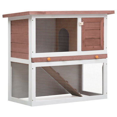 Outdoor Rabbit Hutch 1 Door Brown Wood - Bestgoodshop