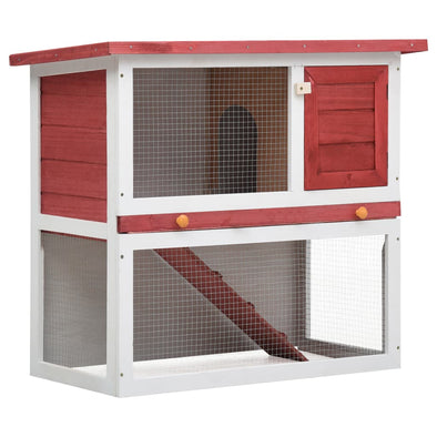Outdoor Rabbit Hutch 1 Door Red Wood - Bestgoodshop
