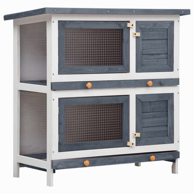 Outdoor Rabbit Hutch 4 Doors Gray Wood - Bestgoodshop