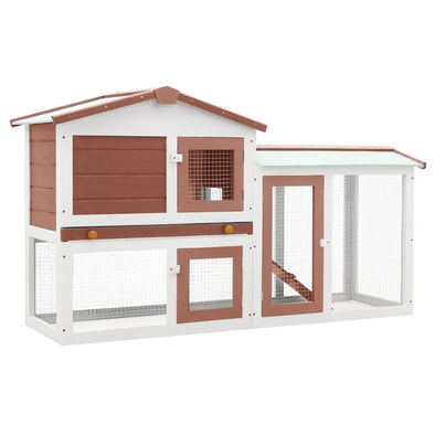 "Outdoor Large Rabbit Hutch Brown and White 57.1""x17.7""x33.5"" Wood - Bestgoodshop"