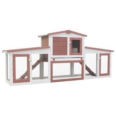 "Outdoor Large Rabbit Hutch Brown and White 80.3""x17.7""x33.5"" Wood - Bestgoodshop"