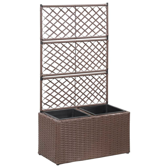 "vidaXL Trellis Raised Bed with 2 Pots 22.8""x11.8""x42.1"" Poly Rattan Brown - Bestgoodshop"
