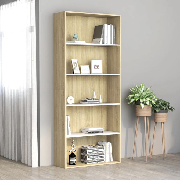 "vidaXL 5-Tier Book Cabinet White and Sonoma Oak 31.5""x11.8""x74.4"" Chipboard - Bestgoodshop"
