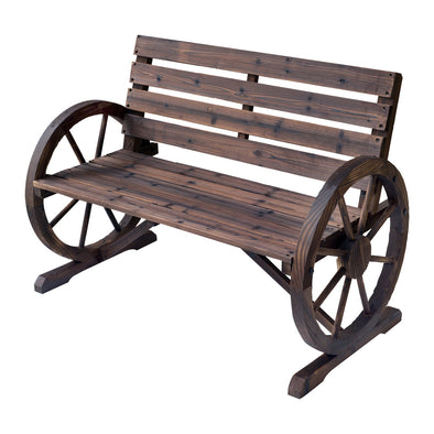 Wooden Outdoor Patio Wagon Wheel Bench
