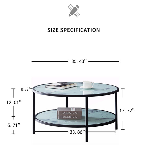 Glass coffee table with large storage space - Bestgoodshop
