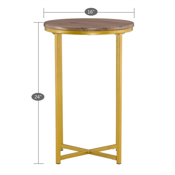 [40.5 x 40.5 x 61]cm Simple Cross Foot Single Layer Wood Grain Round Edge Several 40.5 Round Gold - Bestgoodshop