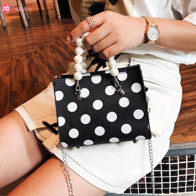 New Design 4 Colors Pearl Jewel Top-Handle Bags Women Leather Dots Messenger Shoulder Chain Handbags Big Capacity For Cute Girl