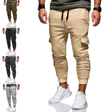 Men Cotton Pants Sport Long With Pockets For Fitness