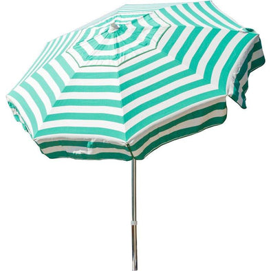 6 Ft Jade Green White Stripe Drape Umbrella Manual Lift with Tilt