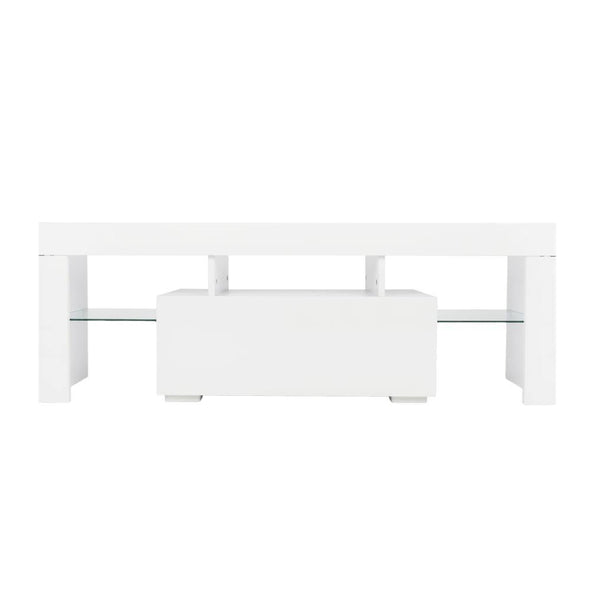 Elegant Household Decoration LED TV Cabinet with Single Drawer White - Bestgoodshop