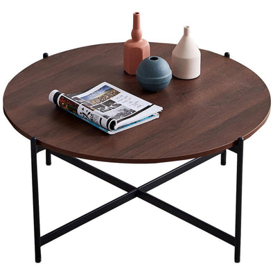 "Modern Round coffee table,Black color frame with walnut top-36"" - Bestgoodshop"
