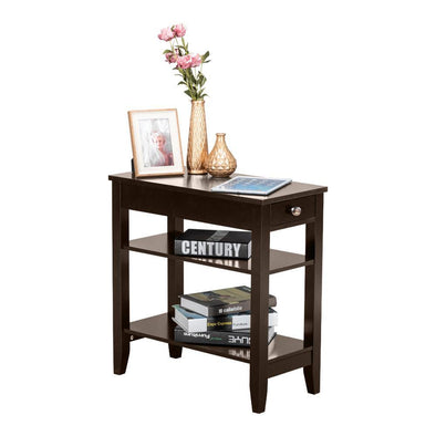 Two Layers of Bedside Table with Drawers Brown