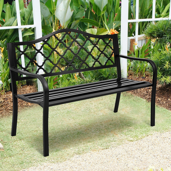 "50"" Patio Garden Bench Loveseats Garden Bench I Patio Bench I Benches For Outside I Wrought Iron Patio Furniture I Garden Benches For Outdoors Clearance I Metal Bench I Front Porch Bench I Outside Bench - Bestgoodshop"