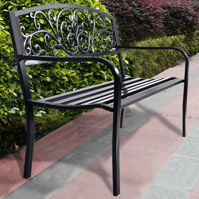 "50"" Patio Park Steel Frame Cast Iron Backrest Bench Porch Chair Garden Bench I Patio Bench I Benches For Outside I Metal Bench I - Bestgoodshop"