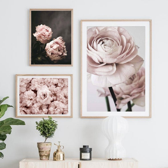 Modern Romantic Light Pink Flowers Canvas Paintings - Bestgoodshop