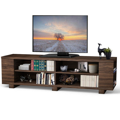 59'' TV Stand MDF Wood Console With Adjustable Shelf