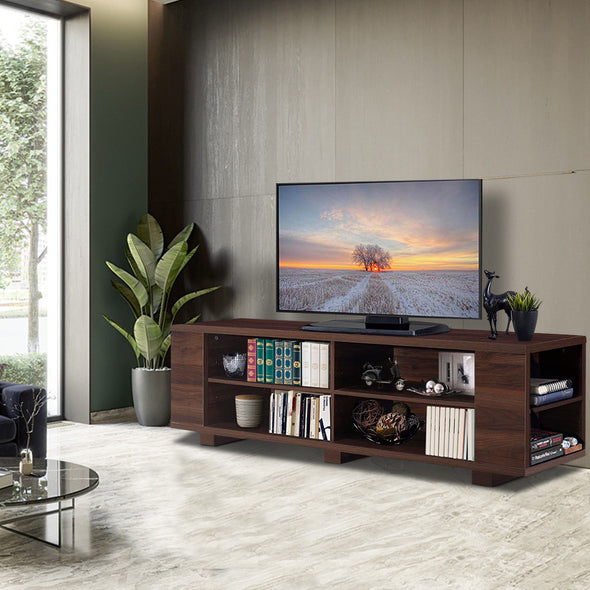 59'' TV Stand MDF Wood Console With Adjustable Shelf - Bestgoodshop