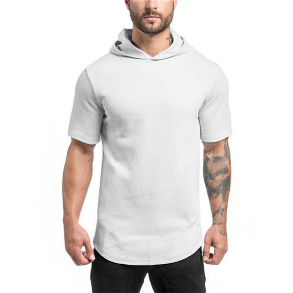Short-Sleeved Solid Cotton-Made Hooded T-Shirt - Bestgoodshop