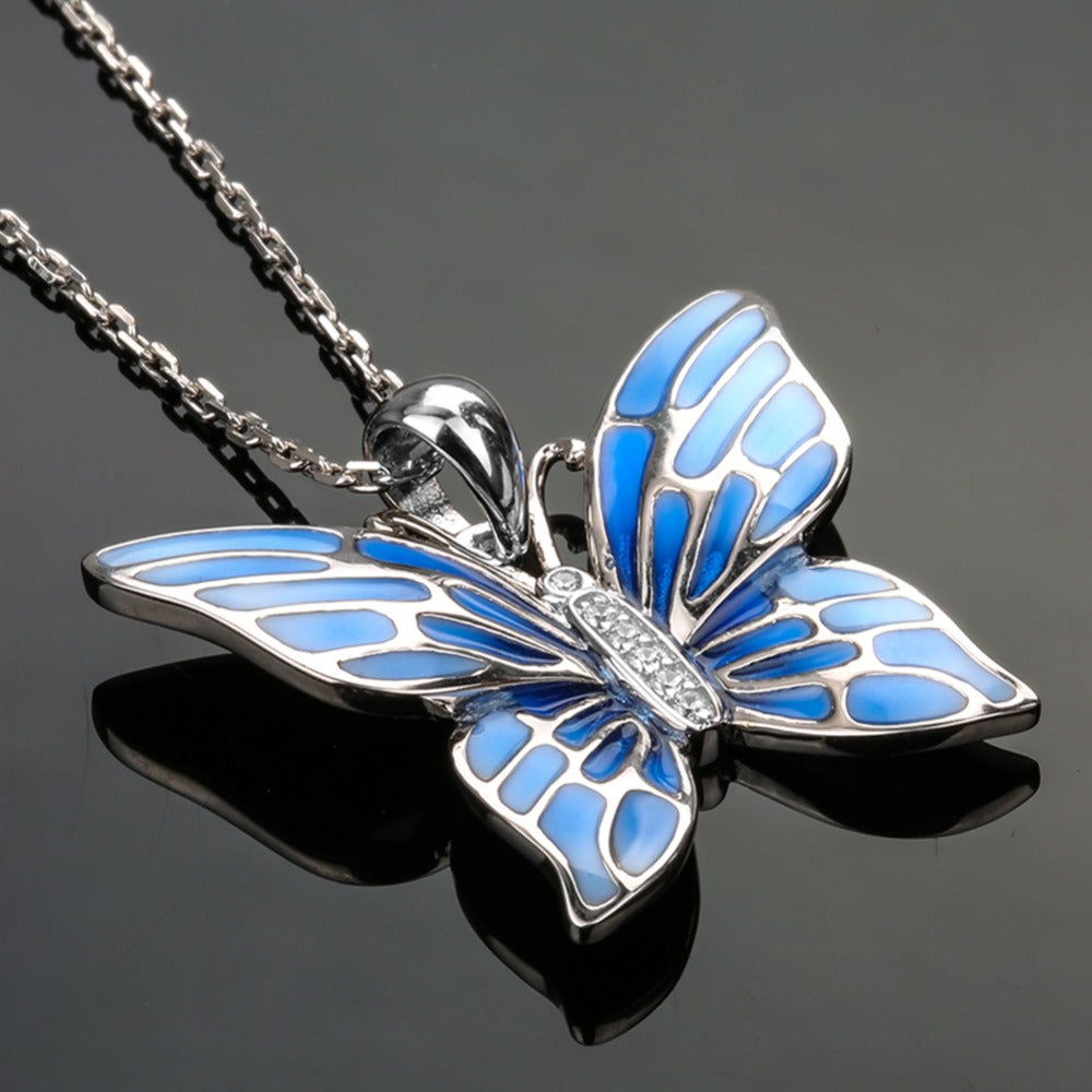 for women fashion strollgirl sterling jewelry blue item silver butterfly pendants necklace pendant chain friends necklaces