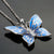 Silver Blue Butterfly Necklace