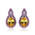 Luxury Orange and Pink Sapphire Stud Silver Earrings
