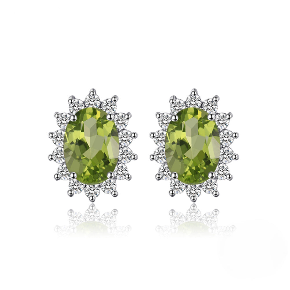 round cool earrings natural studs birthstone august peridot sterling green trendy bijou genuine summer silver stud
