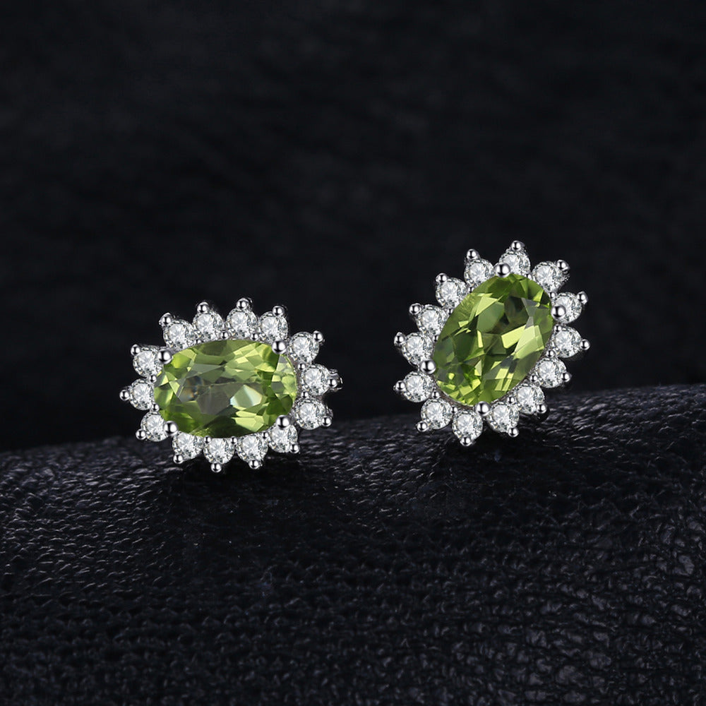 gold image jewellery new yellow peridot oval stud earrings green