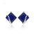 Luxury Square Sapphire Silver Stud Earrings