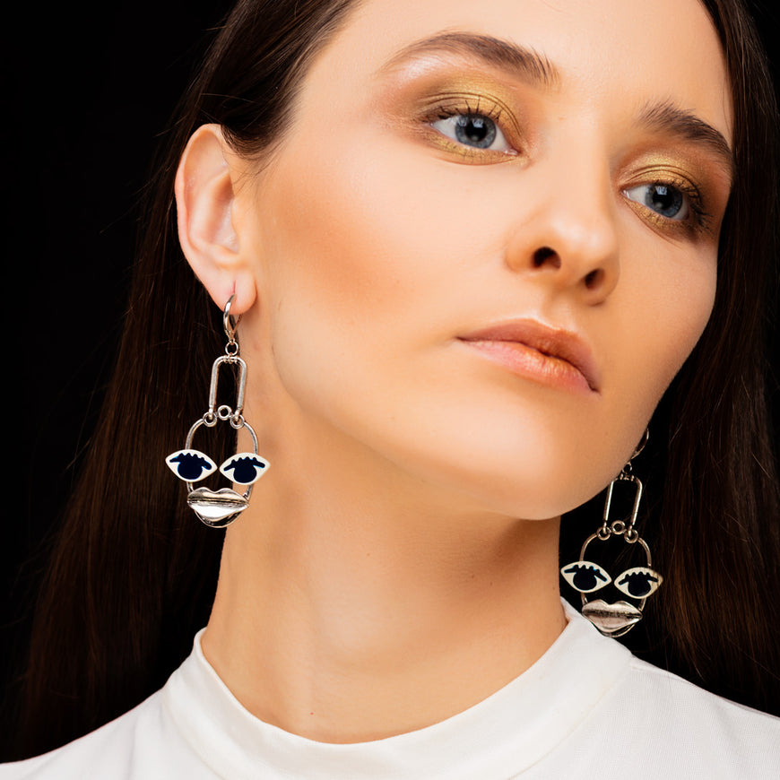 Retro Exaggerate Face Drop Earrings