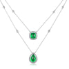 18K White Gold 5 Carat Emerald & Diamond Necklace