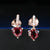 Red Garnet Drop Earrings made of Silver and Plated with 18K Gold