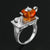 Handmade Sterling Silver Tea Lover Ring with Natural Amber