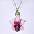 Gorgeous Rose Enamel Flower Silver Pendant