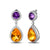 Exquisite  9.80ct Citrine & Amethyst & Diamonds Gold Earrings