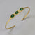 Sterling Silver Handmade Pea Pods Aventurine Bangle