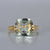 6 Carat Cushion Light Green Amethyst 14k Gold Ring