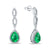 White Gold Water Drop Emerald and Diamond Earrings