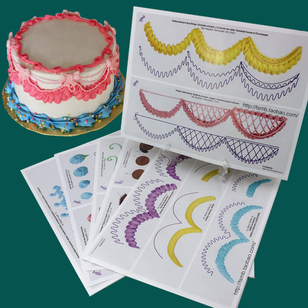 Decorative Cake Piping Practice Board Drawings 23 pcs